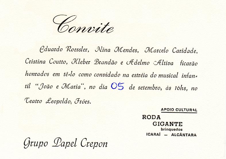 03c2d520e7a Convite do espetáculo que estreou no Teatro Leopoldo Fróes